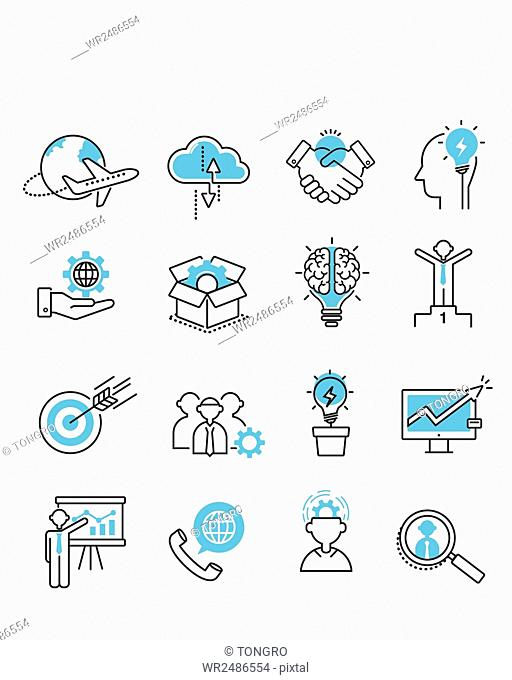 Set of various line icons related to global business, business ideas and teamwork of business people