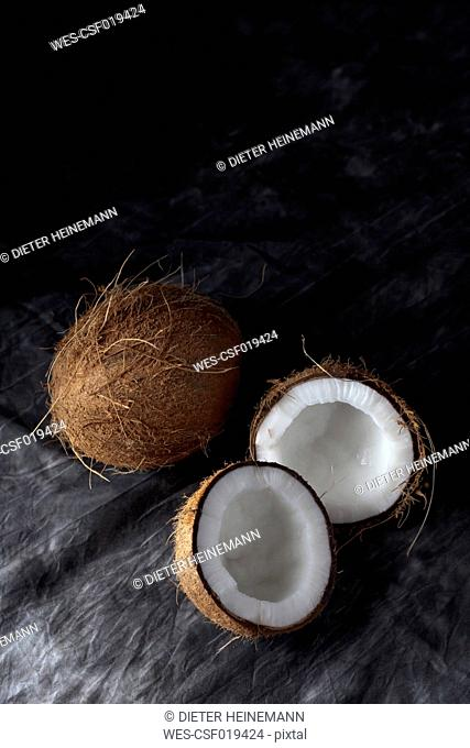 Coconuts on textile, close up