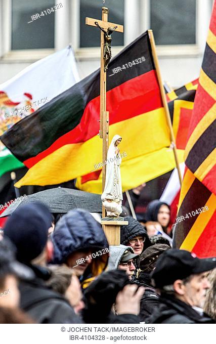 German flag, cross, demonstration, PEGIDA, Hogesa, hooligans, antifa, citizen initiative, Salafists, Wuppertal, North Rhine-Westphalia, Germany