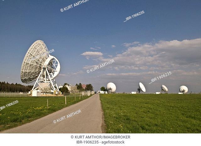 Satellite observation stations, radio telescope dishes, DLR Deutsches Zentrum fuer Luft- und Raumfahrt eV, German centre for aviation and astronautics, Weilheim