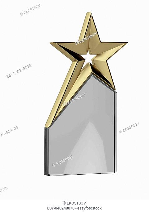 Golden trophy isolated on a white background. 3d render
