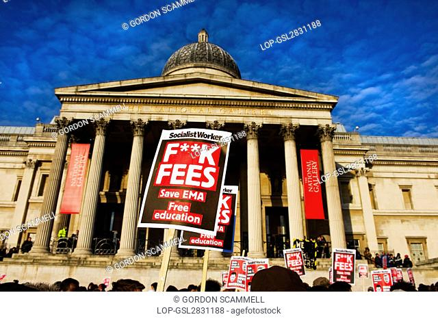 England, London, Trafalgar Square. Students outside the National Gallery in Trafalgar Square demonstrating against government education cuts