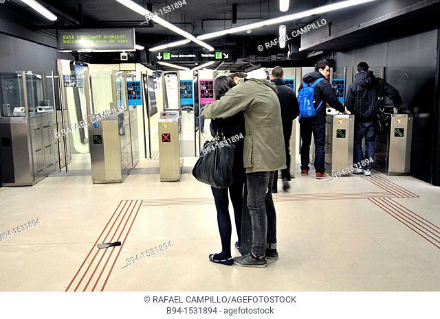 Subway station, Barcelona, Catalonia, Spain