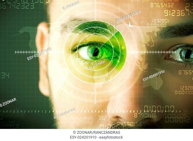 Modern man with cyber technology target military eye