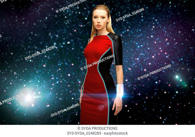 futuristic woman with transmitter in space