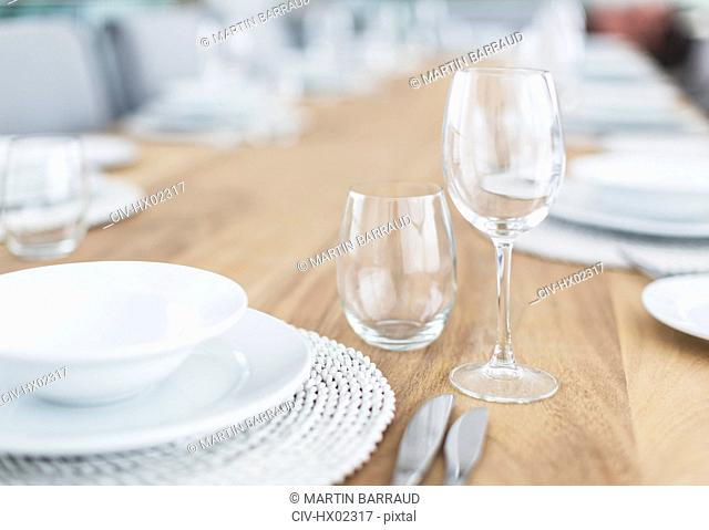 Still life simple placesetting on wood dining table