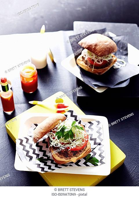 Hamburgers, elevated view