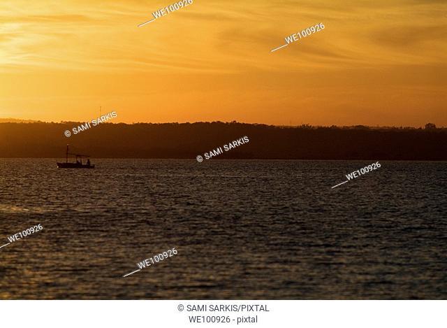 Rippled water of Cienfuegos Bay at sunrise from Punta Gorda, Cuba