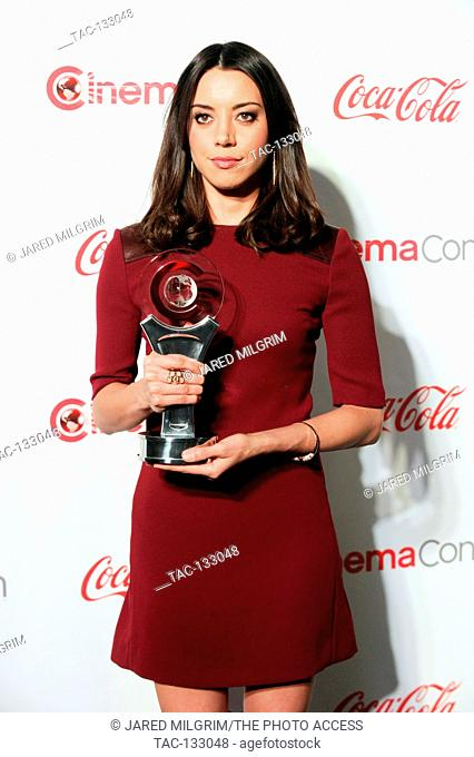 Actress Aubrey Plaza, recipient of the Breakthrough Performer of the Year Award, arrives at the CinemaCon awards ceremony at the Pure Nightclub at Caesars...