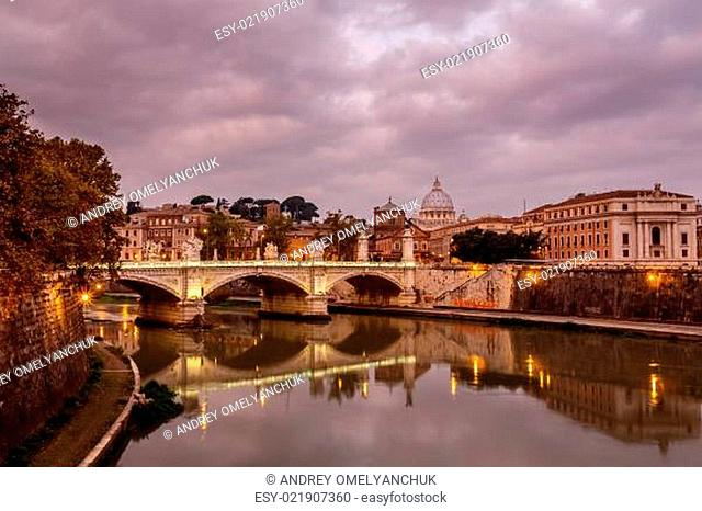 Illuminated Tiber River Embankment and Saint Peter's Cathedral in the Morning, Rome, Italy