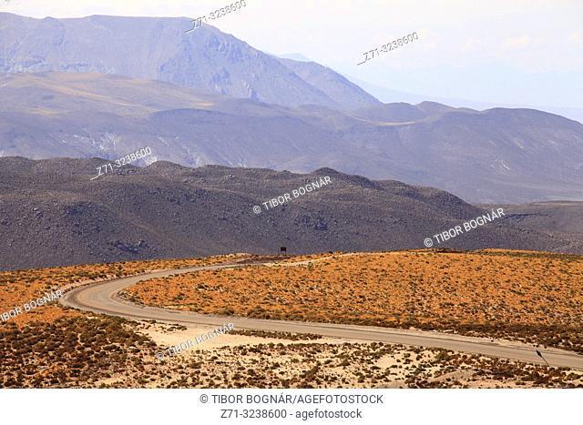 Chile, Antofagasta Region, Atacama Desert, bending road,