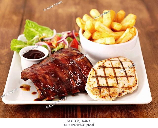 Chicken and Ribs with Chips