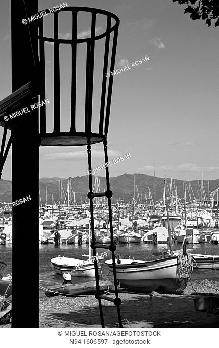 View of fishing boats on the beach at Port de la Selva, Girona, Spain
