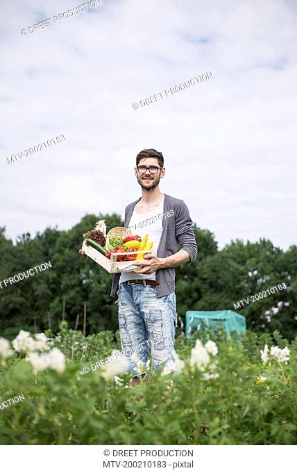 Mid adult man harvesting vegetables from community garden, Bavaria, Germany