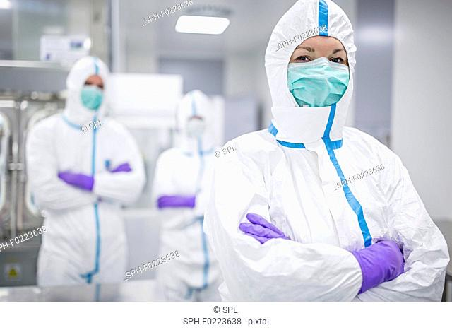 Lab technicians in sterile environment