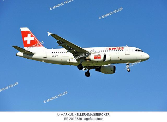 Swiss Airbus A319 112 during the landing approach to Zurich Airport, Zurich, Switzerland, Europe