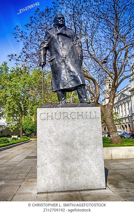 Statue of Winston Churchill in Parliment Sqaure, Westminster, London