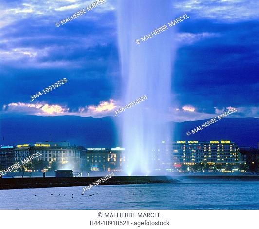 Switzerland, Europe, Geneve, Geneva, Lac Leman, jet d'eau, fountain, Jura, lake, night
