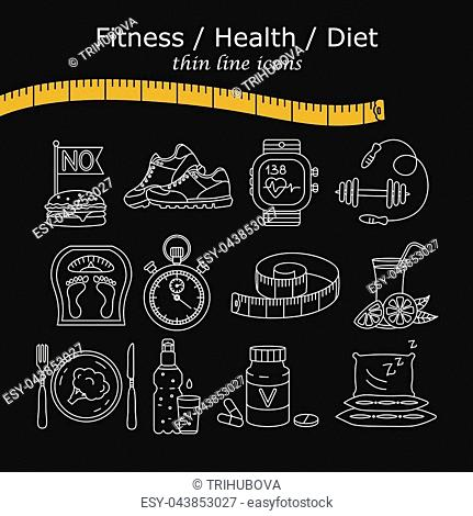 Weight Loss, Diet icons set. Fitness and health collection. Thin line design. Vector pictograms
