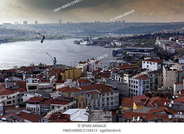 Turkey, Istanbul, Karakoy district, urban landscape of Karakoy district district at sunset