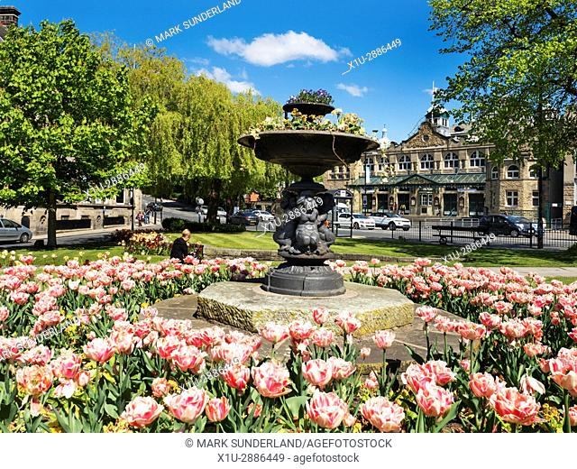 Royal Hall and Crescent Gardens in Spring Harrogate North Yorkshire England