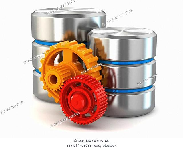 Storage administration concept. Database symbol and gears