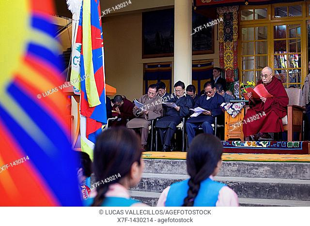 His holiness the Dalai Lama and members of the Tibetan government in exile, in Namgyal Monastery,in Tsuglagkhang complex  McLeod Ganj, Dharamsala