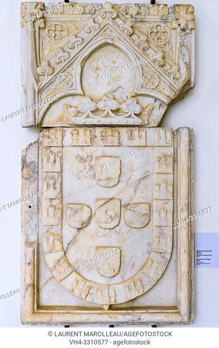 Coat of Arms of Portugal, Marble (14th century) from Paraiso Monastery, Evora Museum, Evora, Alentejo Region, Portugal, Europe