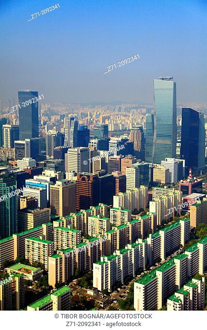 South Korea, Seoul, Yeouido, skyline, aerial view,