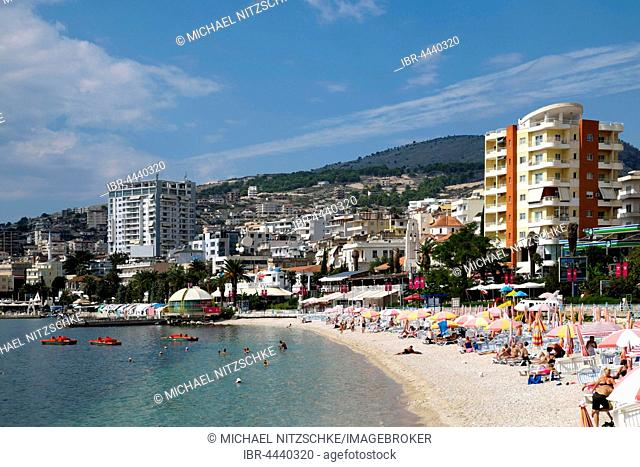 Beach and promenade, Sarandë, Vlorë County, Albania