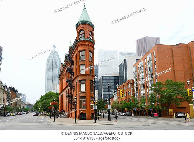 Downtown city life Toronto Ontario Canada Flat Iron Building Gooderham Building