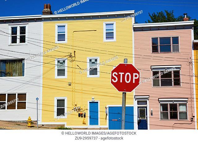 Bright coloured typical house, St John's, Avalon Peninsula, Newfoundland, Canada