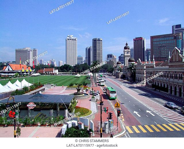 Merdeka Square. Dataran Merdeka. Independence Square. Sultan Abdul Samad and Old City Hall. The Royal Selangor Club and St. Mary's Cathedral. Padang