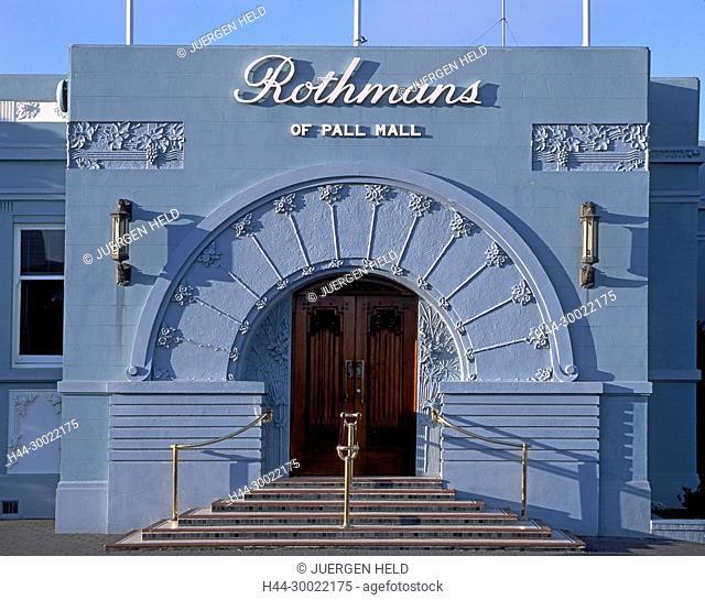 Neuseeland, Suedinsel, Napier, Art Deco Fassade, Rothmans Tabakfabrik | new zealand South island, Napier,art deco building, Rothmans of Pall Mall, entrance