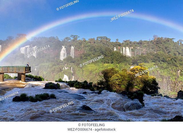 South America, Brazil, Parana, Iguazu National Park, Iguazu Falls, Rainbow, Tourist on viewing platform