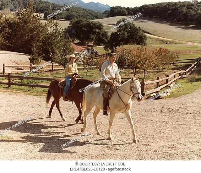 President and Nancy Reagan horseback riding at Racho Del Cielo. Nov. 25 1982. BSLOC-2011-2-29