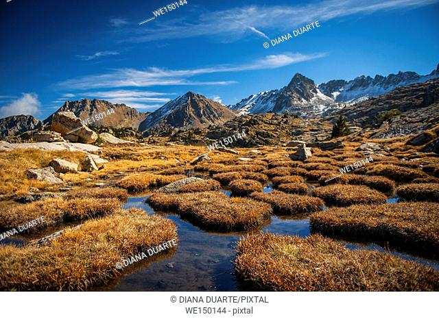 Peaks of Peguera Valley, Aiguestortes National Park. Pyrenees Mountains. Lleida, Catalonia. Spain