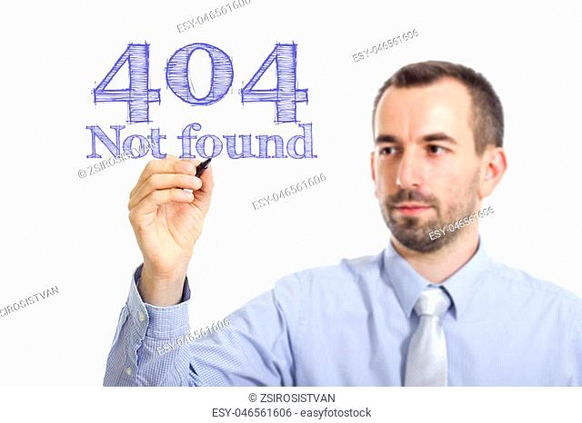 404 not found Young businessman writing blue text on transparent surface - horizontal image