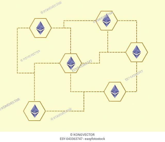 Ethereum Classic blockchain classic concept background vector illustration