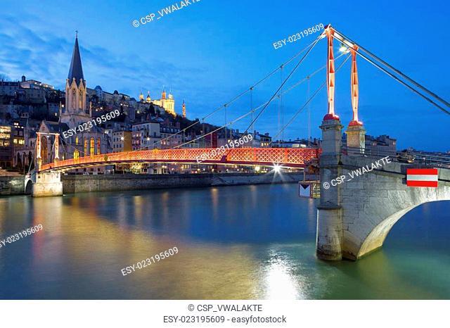 Lyon with Saone river and footbridge at night