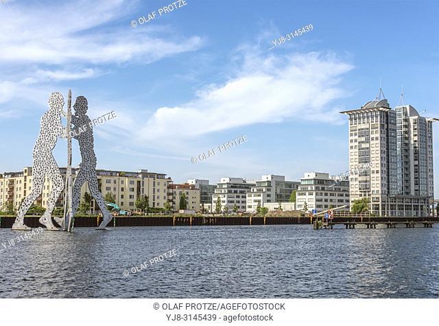 Molecule Man, a Berlin, Germany, Monumental Artwork, created 1999 by the American sculpturer Jonathan Borofsky