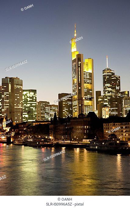 Skyline and Main River at night, Frankfurt, Germnay