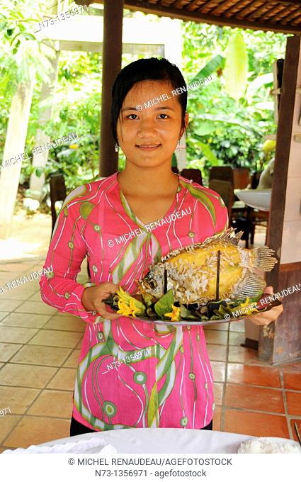Vietnam, Can Tho province, Mekong delta, traditional house converted into a guest house
