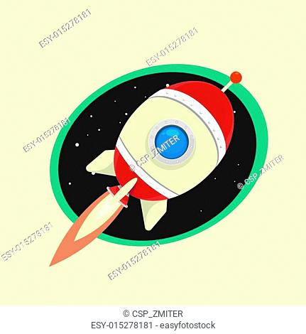vintage style retro poster of Space rocket
