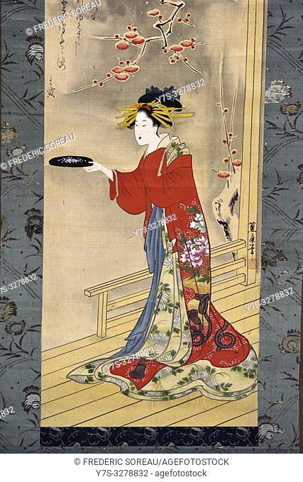 Beauty playing by Suimutei Shoroku (1797-1848), color on silk,Edo period, 19 th century,Tokyo National Museum,Tokyo,Honshu,Japan,Asia