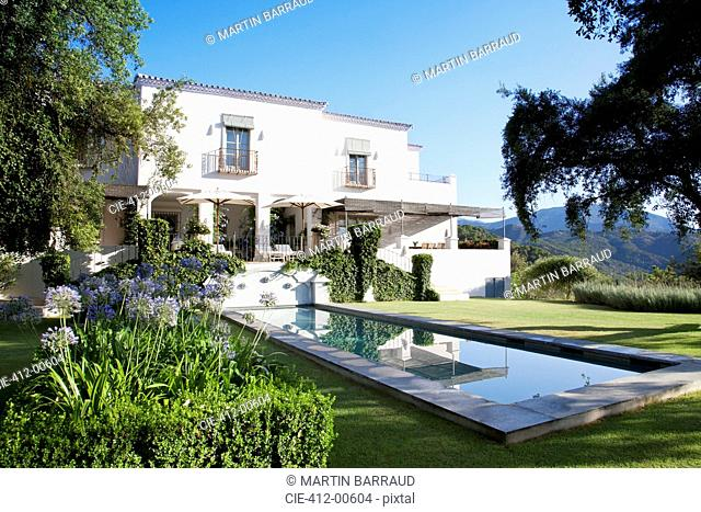 Luxury lap pool and villa