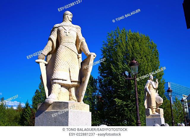 Burgos San Pablo bridge Statues over Arlanzon river in Castilla Spain