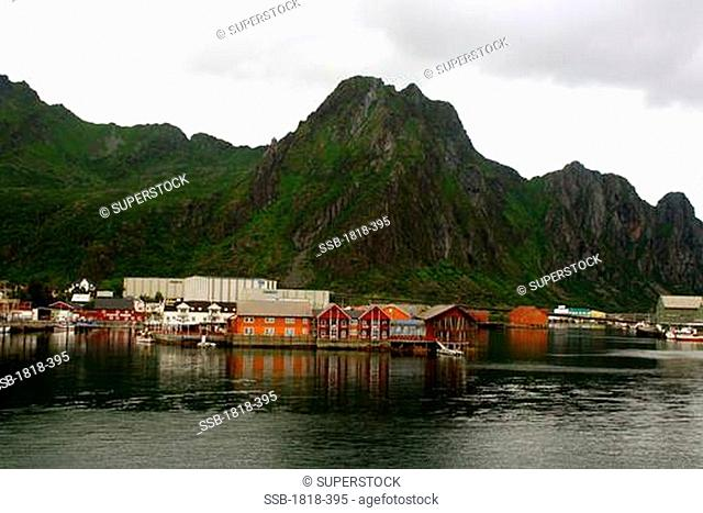 Fishing town at the waterfront, Svolvaer, Norway