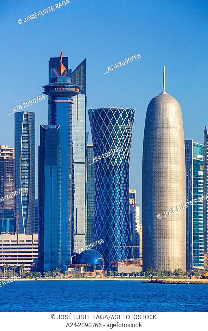 Qatar , Doha City, World Trade Center , Tornado Tower and Burj Qatar Bldgs