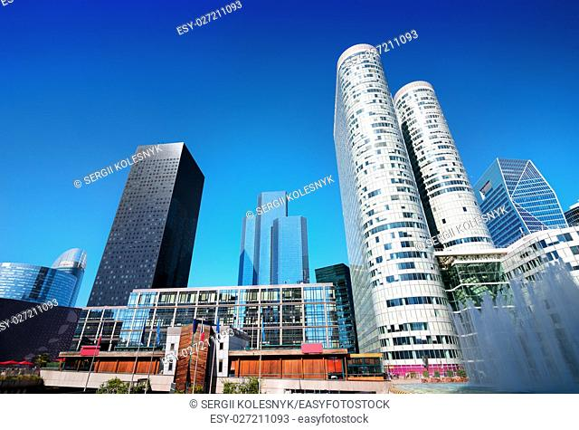 Modern skyscrapers in Paris and clear sky, France